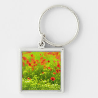 Summer Feelings - wonderful poppy flowers I Silver-Colored Square Keychain