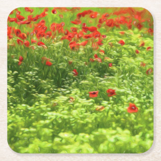 Summer Feelings - wonderful poppy flowers V Square Paper Coaster