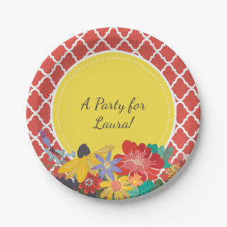 Summer Fiesta Red Floral Quatrefoil With Name 7 Inch Paper Plate