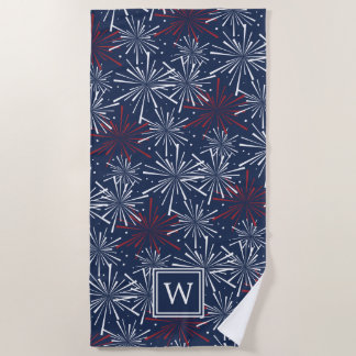 Summer Fireworks Pattern Monogram Beach Towel