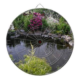 Summer fishpond in the garden dartboard with darts