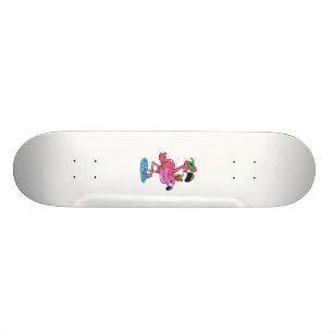 Summer Flamingo cartoon   choose background color Skateboard