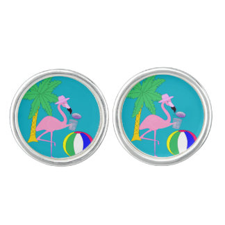 Summer Flamingo Cuff Links