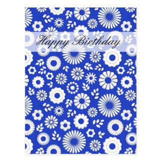 Summer floral deep blue Happy Birthday Postcard