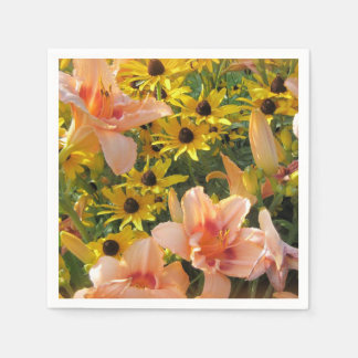 Summer Flower Garden with Day Lilies Disposable Napkin