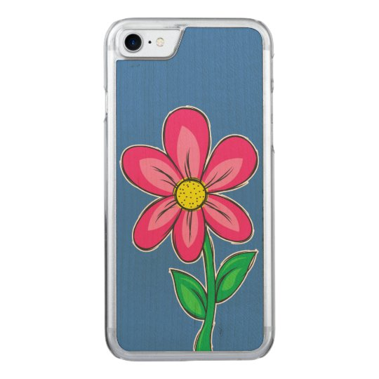 Summer Flower Illustration Carved iPhone 7 Case