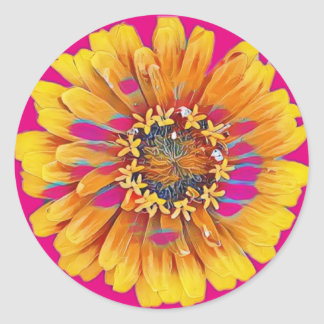 Summer Flower in Full Bloom Classic Round Sticker
