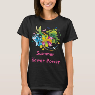 Summer Flower Power Black T-Shirt