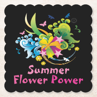 Summer Flower Power Scalloped Square Paper Coaster