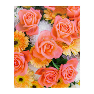 Summer flowers acrylic wall art