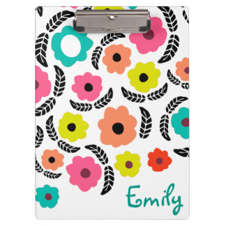 Summer Flowers and Black Leaf Clipboard