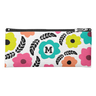 Summer Flowers and Black Leaf Pencil Case