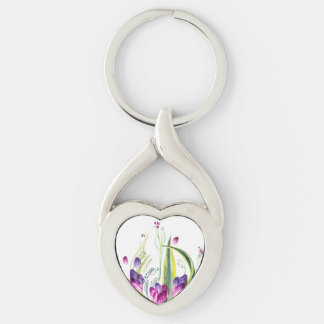 Summer flowers keep our love keychain
