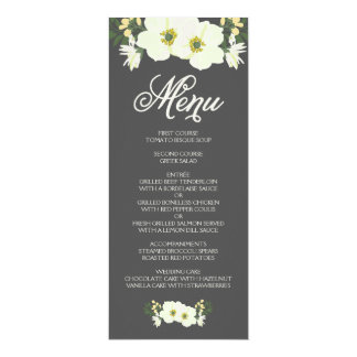 "Summer Flowers Menu Card   Yellow & Gray 4"" X 9.25"" Invitation Card"