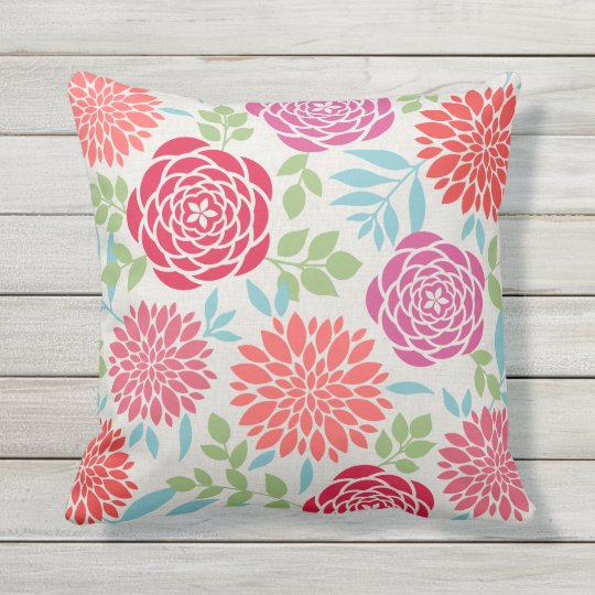 Summer Flowers Pattern Throw Pillow
