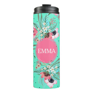 Summer Flowers Teal Personalized Thermal Tumbler