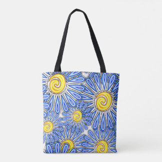 summer flowers themed design tote bag