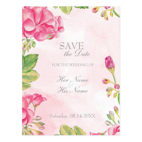 Summer Flowers Wedding Save the Date Invitation Postcard