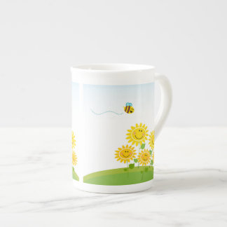 Summer Flowers with Honey Bee Mug
