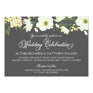 "Summer Flowers   Yellow & Gray Wedding II 5"" X 7"" Invitation Card"