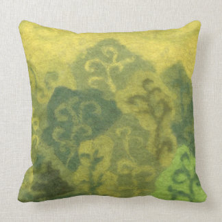 Summer Forest, green & yellow landscape, fiber art Throw Pillow