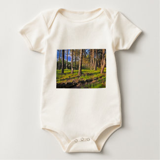 Summer forest in the evening light baby bodysuit