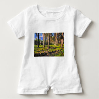 Summer forest in the evening light baby romper