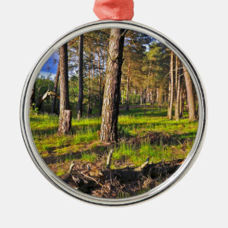 Summer forest in the evening light metal ornament