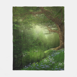 Summer Forest River Fleece Blanket