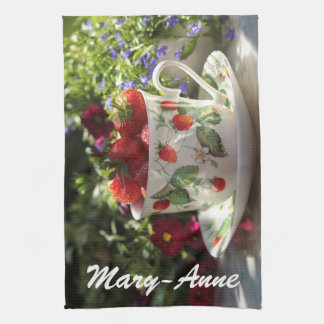 Summer Fresh Strawberries in Teacup and Saucer Kitchen Towel
