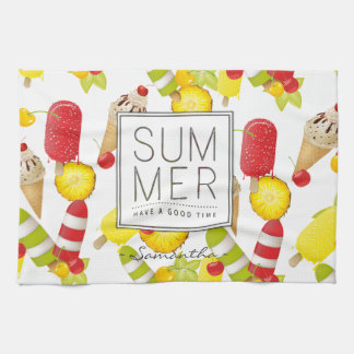 Summer Fruits and Ice-Cream Fun Kitchen Towel