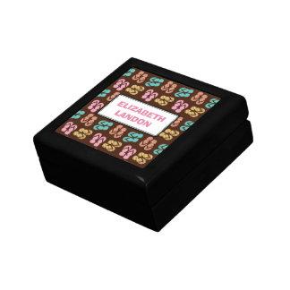 Summer fun brown flip flop sandal pattern custom jewelry box