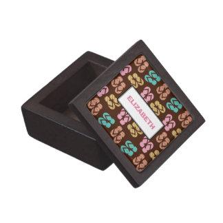 Summer fun brown flip flop sandal pattern custom premium trinket boxes