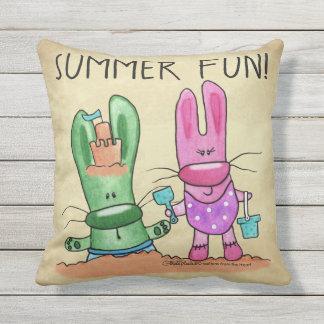 Summer Fun-Bunnies at Beach Throw Pillow