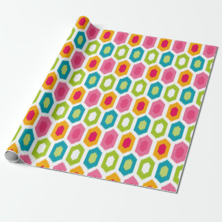 Summer Fun Colorful Modern Ikat Tribal Pattern Wrapping Paper