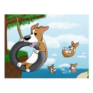 Summer Fun Corgi Postcard