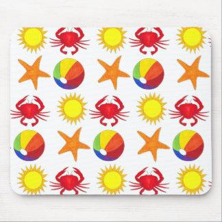 Summer Fun Crab Beach Ball Sunshine Starfish Mouse Pad