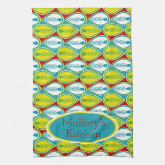 Summer Fun Feathers Personalized Kitchen Towel