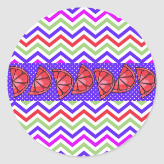 Summer Fun Grapefruit Slice Chevron Polka Dots Classic Round Sticker