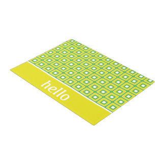 Summer Fun Green and Yellow Tiles Personalized Doormat