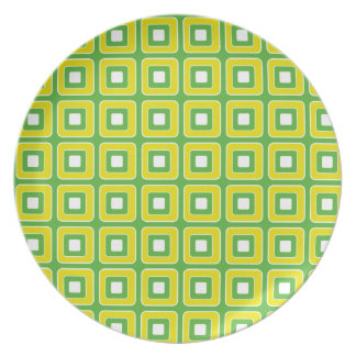 Summer Fun Green and Yellow Tiles Plate