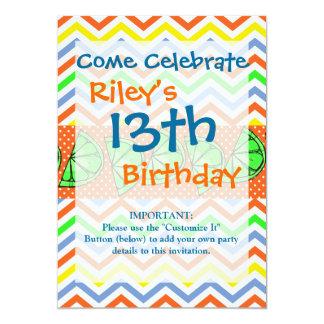 "Summer Fun Limes Chevron Polka Dot Novelty Gifts 5"" X 7"" Invitation Card"
