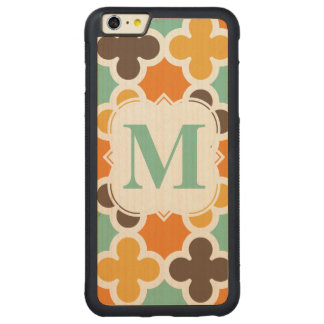 Summer Fun Monogram Retro Quatrefoil Pattern Carved® Maple iPhone 6 Plus Bumper Case