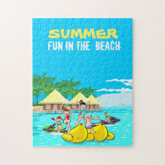Summer fun on the beach with friends jigsaw puzzle
