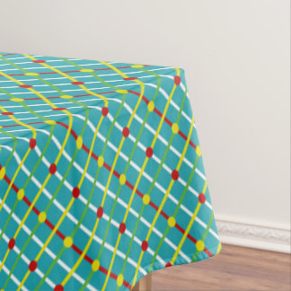 Summer Fun Polka Dots and Stripes Plaid Tablecloth