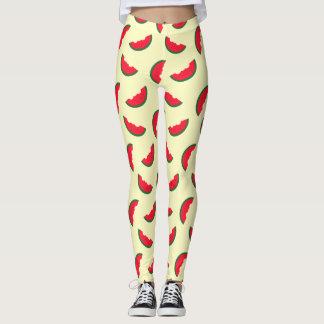 Summer Fun Red Watermelon Yellow Pattern Leggings