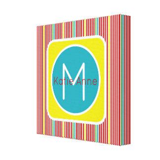 Summer Fun Thin Stripes Monogram Canvas Print