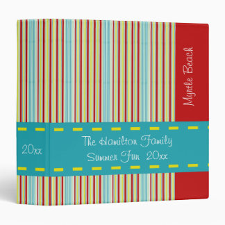 Summer Fun Tiny Stripes Personalized Binder