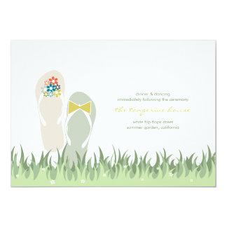 Summer Garden Grass Flowers Flip Flops Wedding Card