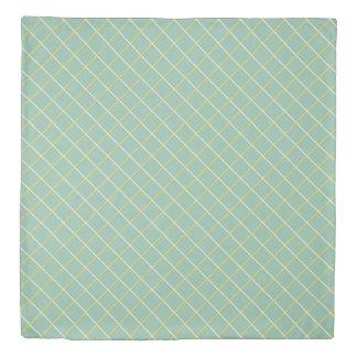 Summer Garden Lattice on Blue Reversible Duvet Cover